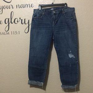 Old Navy Boyfriend Capri Distressed Jeans